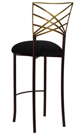 Two Tone Gold Fanfare Barstool with Black Suede Cushion (1)