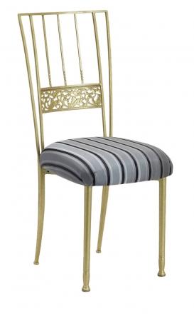 Gold Bella Fleur with Charcoal Stripe Cushion (2)