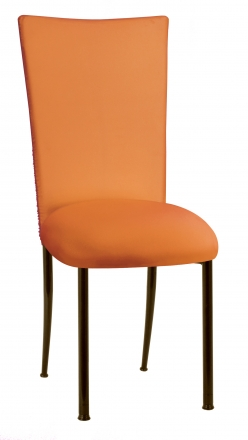 Chloe Tangerine Stretch Knit Chair Cover and Cushion on Brown Legs (2)