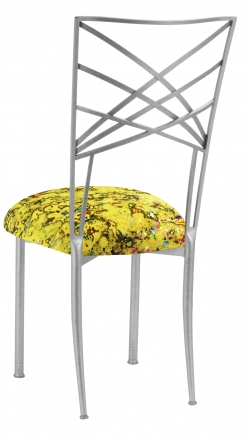 Silver Fanfare with Yellow Paint Splatter Knit Cushion (1)