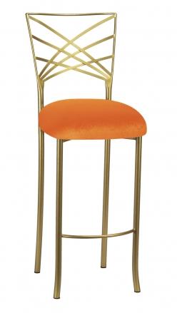 Gold Fanfare Barstool with Orange Velvet Cushion (2)