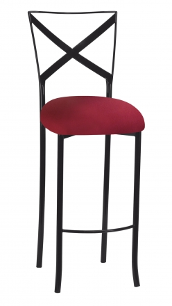 Blak. Barstool with Cranberry Stretch Knit Cushion (2)