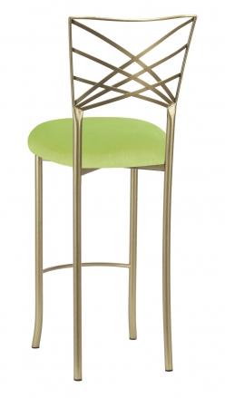 Gold Fanfare Barstool with Lime Velvet Cushion (1)