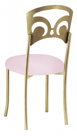 Gold Fleur de Lis with Soft Pink Stretch Knit Cushion (1)