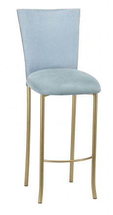 Ice Blue Suede Barstool Cover and Cushion on Gold Legs (2)