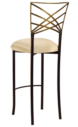 Two Tone Gold Fanfare Barstool with Champagne Bengaline Cushion (1)