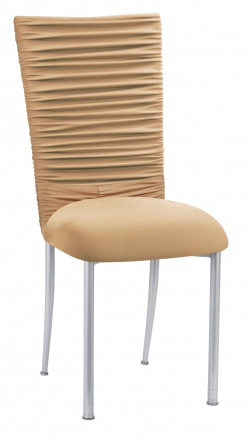 Chloe Beige Stretch Knit Chair Cover with Rhinestone Accent and Cushion on Silver Legs (2)