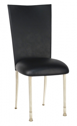 Black Leatherette Chair Cover and Cushion on Ivory Legs (2)