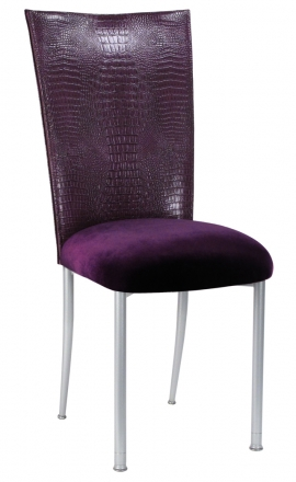 Purple Croc Chair Cover with Eggplant Velvet Cushion on Silver Legs (2)