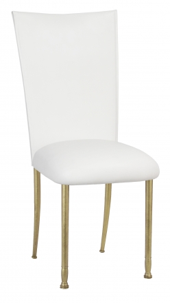 White Leatherette Chair Cover and Cushion on Gold Legs (2)