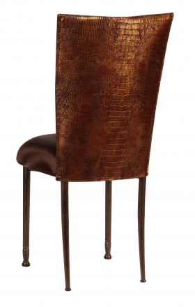 Bronze Croc Chair Cover with Chocolate Stretch Knit Cushion on Mahogany Legs (1)