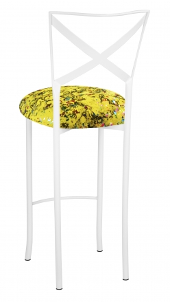 Simply X White Barstool with Yellow Paint Splatter Cushion (1)