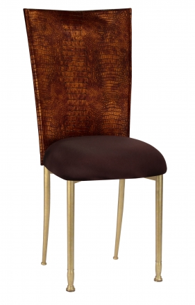Bronze Croc Chair Cover with Chocolate Stretch Knit Cushion on Gold Legs (2)