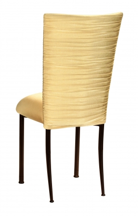 Chloe Gold Stretch Knit Chair Cover and Cushion on Brown Legs (1)