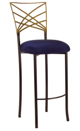 Two Tone Gold Fanfare Barstool with Navy Blue Stretch Knit Cushion (2)