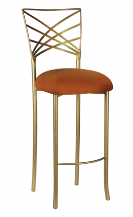 Gold Fanfare Barstool with Copper Stretch Knit Cushion (2)