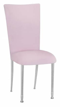 Soft Pink Velvet Chair Cover and Cushion on Silver Legs (2)