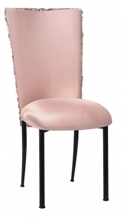 Blush Bedazzled Chair Cover and Blush Stretch Knit Cushion on Black Legs (2)