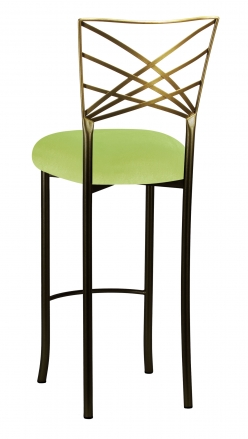 Two Tone Fanfare Barstool with Lime Green Velvet Cushion (1)