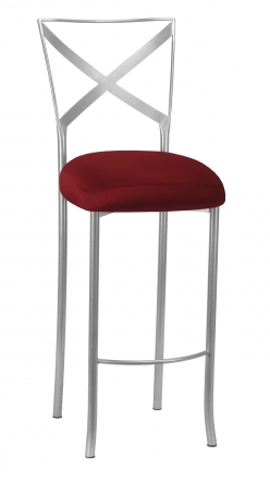 Simply X Barstool with Burnt Red Dupioni Boxed Cushion (2)