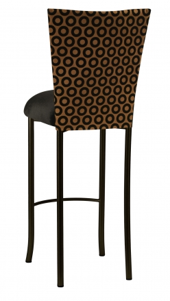 Chocolate Suede with Black Chenille Circle Barstool Cover and Black Velvet Cushion on Brown Legs (1)