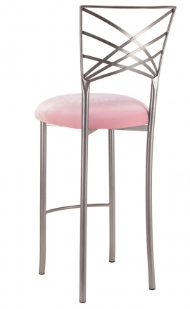 Silver Fanfare Barstool with Soft Pink Velvet Cushion (1)
