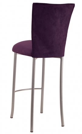 Lilac Suede Barstool Cover and Cushion on Silver Legs (1)