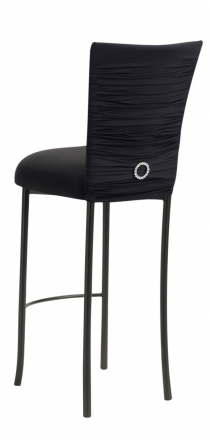 Chloe Black Stretch Knit Barstool Cover with Jewel Band and Cushion on Brown Legs (1)