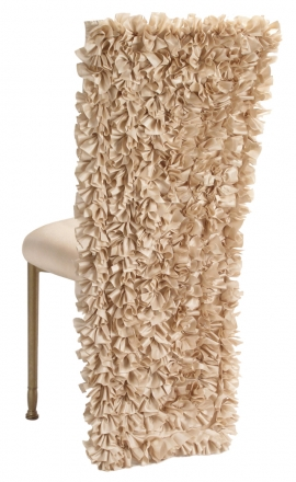 Champagne Ruffle Chair Cover with Champagne Bengaline Cushion on Gold Legs (1)