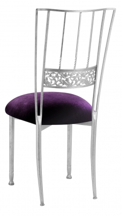 Silver Bella Fleur with Deep Purple Velvet Cushion (1)
