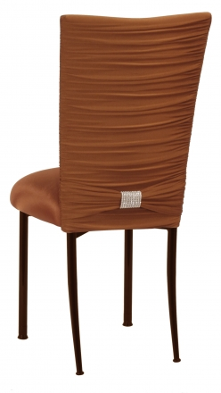 Chloe Copper Stretch Knit Chair Cover with Rhinestone Accent Band and Cushion on Brown Legs (1)