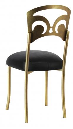 Gold Fleur de Lis with Black Leatherette Boxed Cushion (1)