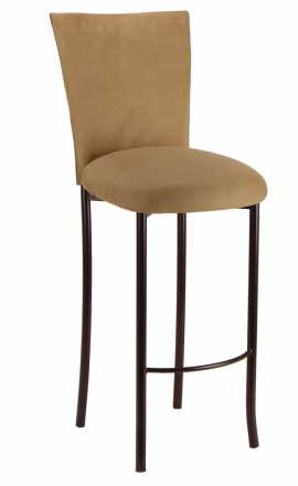 ... Camel Suede Chair Cover And Cushion On Brown Legs (2)