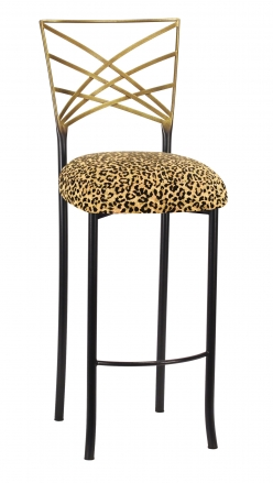 Two Tone Fanfare Barstool with Leopard Boxed Cushion (2)
