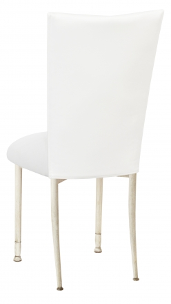 White Leatherette Chair Cover and Cushion on Ivory Legs (1)