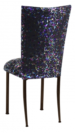 Black Paint Splatter Chair Cover and Cushion on Brown Legs (1)