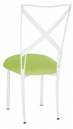 Simply X White with Lime Green Velvet Cushion (1)