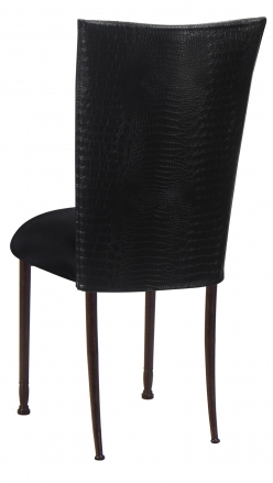 Matte Black Croc Chair Cover with Black Stretch Knit Cushion on Mahogany Legs (1)