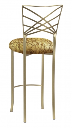 Gold Fanfare Barstool with Gold Lace over Gold Knit Cushion (1)