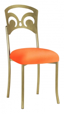 Gold Fleur de Lis with Tangerine Stretch Knit Cushion (2)