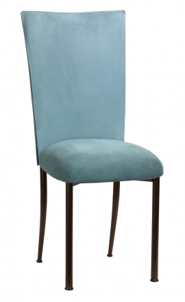 Ice Blue Suede Chair Cover and Cushion on Brown Legs (2)