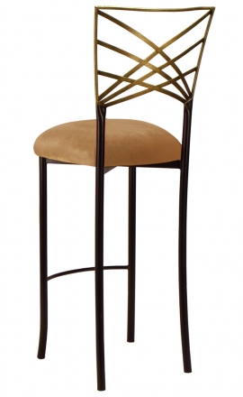Two Tone Gold Fanfare Barstool with Gold Velvet Cushion (1)