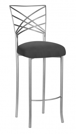Silver Fanfare Barstool with Charcoal Linette Boxed Cushion (2)