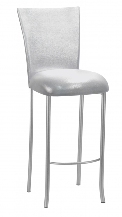 Metallic Silver Stretch Knit Barstool Cover and Cushion on Silver Legs (2)
