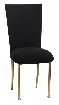 Black Suede Chair Cover and Cushion on Gold Legs (2)