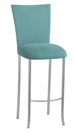 Turquoise Suede Barstool Cover and Cushion on Silver Legs (2)