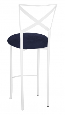 Simply X White Barstool with Navy Blue Suede Cushion (1)