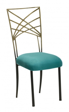 Two Tone Gold Fanfare with Turquoise Suede Cushion (2)