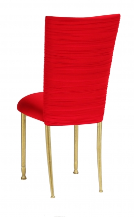 Chloe Million Dollar Red Stretch Knit Chair Cover and Cushion on Gold Legs (1)