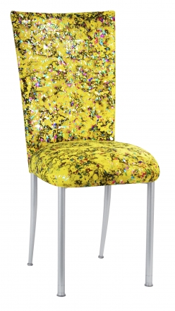 Yellow Paint Splatter Chair Cover and Cushion on Silver Legs (2)